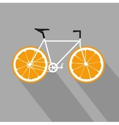 Bicycle with orange fruit wheels Flat icon vector image vector image