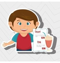 Cartoon boy menu food drink vector