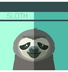 Flat postcard with Sloth vector image