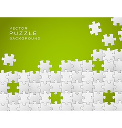 green background made from white puzzle pieces vector image