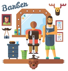 Interior barbershop with master and client vector image vector image