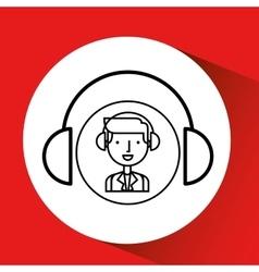 Man hand drawing listening music headphones vector