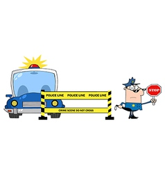 Police Line And Police Officer With Car vector image vector image