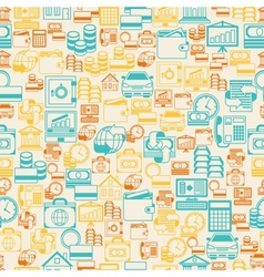 Seamless pattern of banking icons vector image vector image