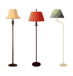 Set of retro colored floor lamps vector
