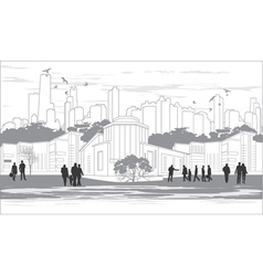 silhouettes of people in black and white vector image