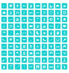 100 europe icons set grunge blue vector image
