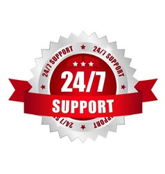 24-7 support button vector