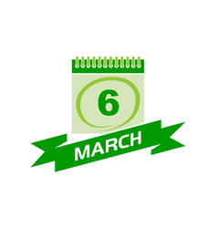 6 march calendar with ribbon vector