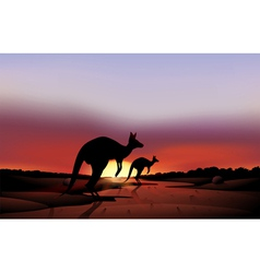 A big and small kangaroo in the desert vector