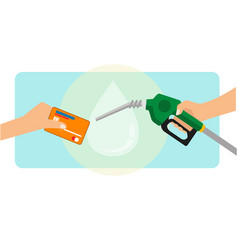 A man paying gasoline fuel using credit card vector