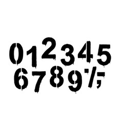 a set numbers made stencil and drips of vector image