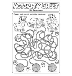 Activity sheet cat theme 1 vector