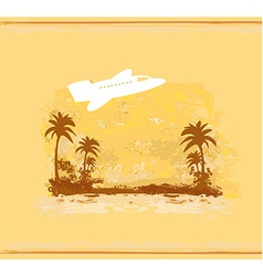 Airplane with palm of tropics background vector