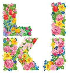 Alphabet of flowers IJKL vector