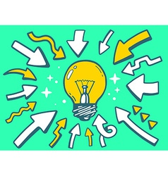 arrows point to icon of bulb light on gre vector image