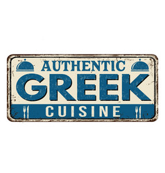 authentic greek cuisine vintage rusty metal sign vector image