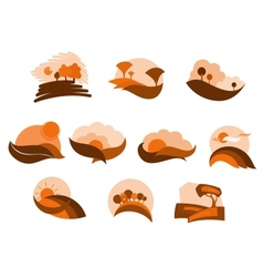 Autumnal nature icons and symbols vector image
