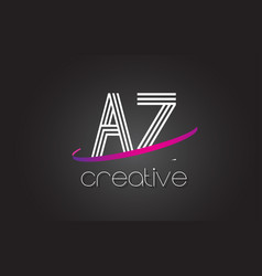 Az a z letter logo with lines design and purple vector