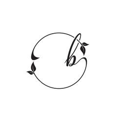 B script leaf circle logo design concept vector