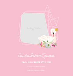 baby arrival announcement with beautiful swan vector image
