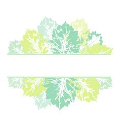 Banner frame hand printed birch aspen leaves vector