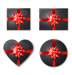 black giftbox set with red bow realistic vector image