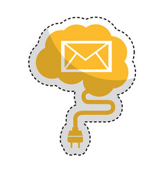 brain connected with envelope vector image