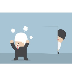 Businessman hiding from angry boss behind the wall vector