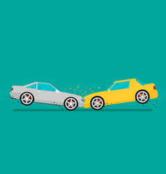 Car crash two cars hit head-on flat design vector