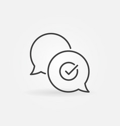 Check mark in speech-bubble outline icon vector