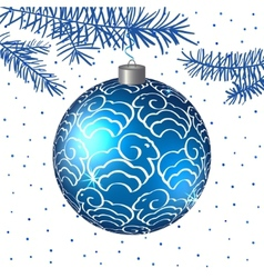Christmas blue ball with sheep background vector