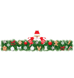 Christmas fir border decorated with santa claus vector