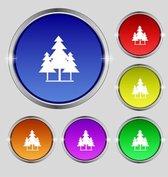 Christmas tree icon sign Round symbol on bright vector