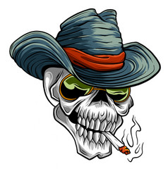 Cowboy skull cartoon style vector