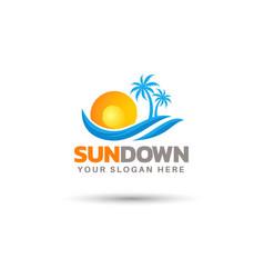 Creative sundown logo design vector