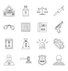 Crime and punishment icons set outline style vector