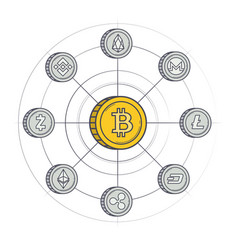 cryptocurrency coins wallpaper vector image