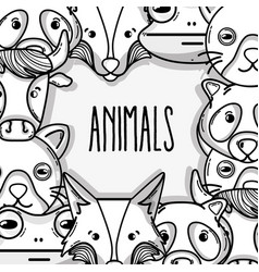 cute natural animal background design vector image