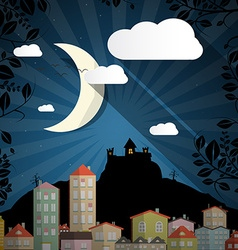 Dark Scene with Moon - Spooky Castle and Buildings vector