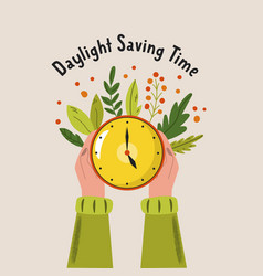 Daylight saving time abstract design with hands vector