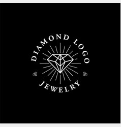 diamond logo designs mono line vector image