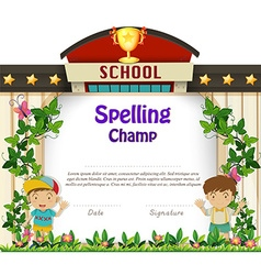 Diploma template with boys in garden vector