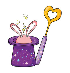 fairytale magic hat with rabbit ears and wand vector image