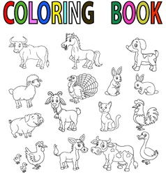 Farm animal coloring book vector