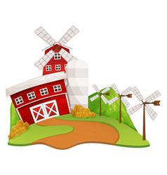 Farm scene with barn and windmill vector