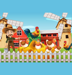 Farmer and chickens on the farm vector