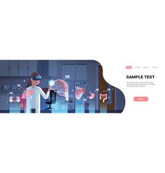 Female doctor wearing digital glasses touching vector