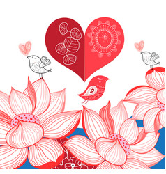 festive bright card with birds in love vector image