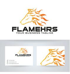 Flame horse logo design vector